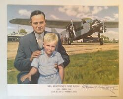 Apollo 11 Astronaut Neil Armstrong's First Flight with Dad Signed Illustration