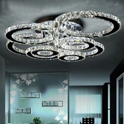 Flush Mounted Chandeliers Led Lighting Crystal Chrome Iron Home Ceiling Fixtures