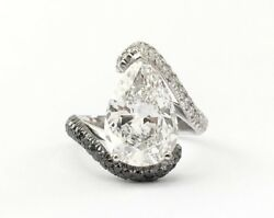 GIA DIAMOND RING 6.80 CT PEAR TYPE IIa D INTERNALLY FLAWLESS 18k WHITE GOLD NIB