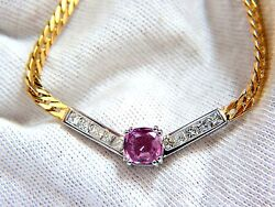 Gia 2.52ct Natural No Heat Pink Sapphire Diamonds V Necklace 14kt+