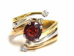 2.00ct Natural Blood Red Orange Spinel Diamonds Bypass Ring 14kt. +