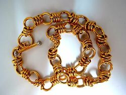 14kt Gold Floating Circles Toggle Link Necklace 17.5 Inch+