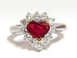 GIA Certified 2.40ct Natural Ruby Diamonds ring 18kt Heart Cut +