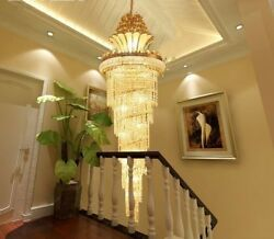 Crystal Chandeliers For Hotel Mansion Staircase Lighting Luxury Mounted Fixtures