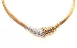 Ladies 14k Yellow Gold Diamond Necklace. Made In Italy.