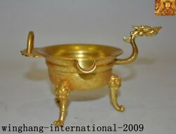 Rare China Dynasty Palace Bronze 24k Gold Gilt Dragon Head Goblet Wineglass Cup