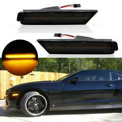 Smoked Lens LED Front Side Marker Lamps wAmber LED Light For 10-15 Chevy Camaro