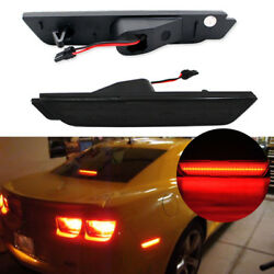 Smoked Lens LED Rear Side Marker Lamps wRed LED Light For 10-15 Chevy Camaro