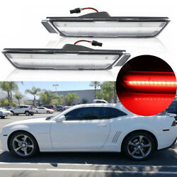 2PC Clear Lens Rear Side Marker Lamps wRed LED Lights For 10-15 Chevy Camaro