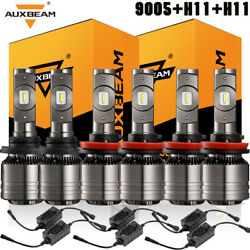 6x AUXBEAM LED Headlight Bulbs Kit HiLo 9005 H11 H11 Fog Lights 6000K 8000LM T1