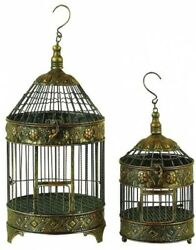 Set Of 2 Decorative Metal Bird Cages Antique Gold Finish Vintage Victorian Style