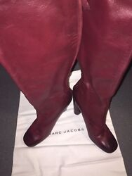 Marc Jacobs Boots -soft Calf Leather Rare Dye Burgundy Knee Stable Vintage Pair