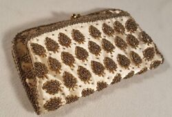 Vintage Evening Purse Bag Clutch Seed Beads & Brass Catch