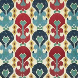 Kasbah Red Teal Blue Mustard Upholstery Ikat Chenille Fabric / Jewel
