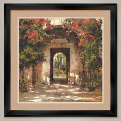 35wx35h Flowered Doorway By Cyrus Afsary - Double Matte Glass And Frame