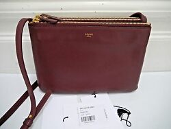 CELINE Trio burgundy leather crossbody bag handbag CARRIED ONCE