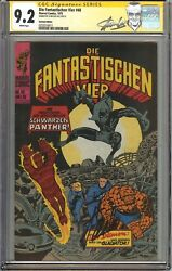 Fantastic Four #52 CGC 9.2 NM- Signed STAN LEE German Ed 1st app Black Panther
