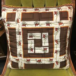 Vintage Brown And Yellow Equestrian Motif Silk Twill Scarf Throw Pillow W/ Feather