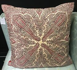 Vintage Pink And Red Paisley Silk Twill Scarf Throw Pillow W/ Feather Insert