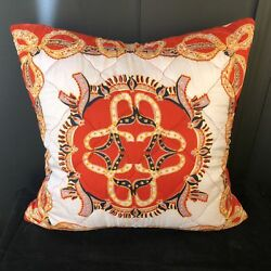 Vintage Ribbon And Bow Silk Twill Scarf Throw Pillow W/ Feather Insert