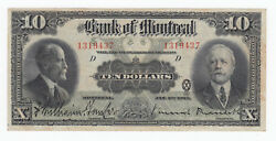 1923 Bank Of Montreal 10 Chartered Banknote - S/n 1319437/d