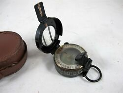 Ww2 Military Field Compass By Henry Brown And Son Ltd Mother Of Pearl Dial And Leat