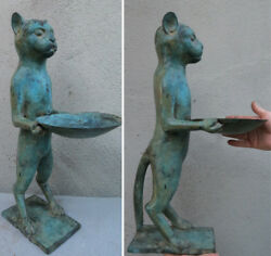 Huge Brass Patina Figurine Business Card Display Candle Holder Jewelry Ring Tray