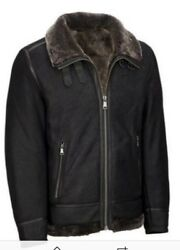 Wilsons Leather Mens Big And Tall Genuine Leather Jacket W/ Shearling Lining Lt
