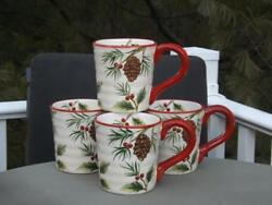 4 Maxcera Christmas Pinecone Holly Large Mugs 20 Ounces Exc