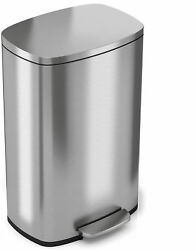 Premium Silvertone Stainless Steel Step-style Trash Can