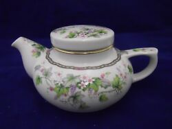 Monica Andrea By Sadek Individual Teapot W/lid Cream W/grapes And Blossoms