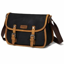 Crossbody Bag for WomenVASCHY Vintage Leather Waxed Canvas Flap Small Shoulder