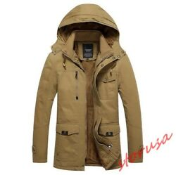 Winter Mens Outdoor Warm Hooded Long Jacket Military Parka Fur Lined Duffle Coat