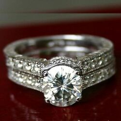 2.48 Ct Moissanite Round Forever One Ghi Pave Wedding Set Vintage Rings