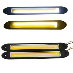 10Pairs Cold White Amber Dual Color LED COB Car Auto DRL Daytime Running Light
