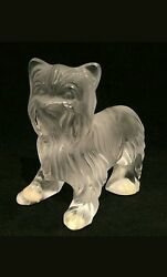 LALIQUE Crystal YORKIE made in France Yorkshire Terrier Dog Figurine Signed