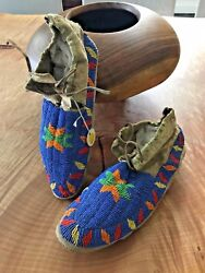 Antique Native Sioux Plains Indian Manand039s Beaded Pictorial Moccasins Provenance