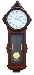 Huge 68 Tall Vintage Ansonia Double Weight Driven Carved General Wall Clock