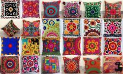 Wholesale Lot Indian Suzani Pillow Vintage Throw Embroidered Cushion Covers