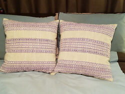 Set Of 2 Crate And Barrel Dabney Grape Purple 20 Pillows W/ Feather Down Insert