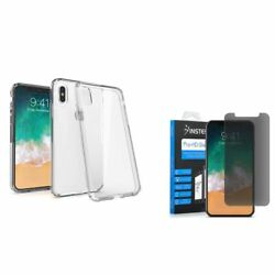 For Apple iPhone XS X BasAcc Rubber Case Clear w Anti Spy Privacy Glass Screen