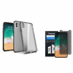 For iPhone XS X BasAcc Rubber Transparent Case Black wScreen Privacy Filter