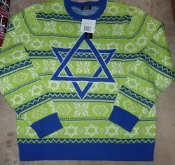 New Hanukkah Christmas Holiday Green Blue Ugly Sweater Men Xl X-large New Nwt