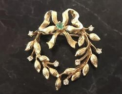 18K VINTAGE BROOCH PIN 7 DIAMONDS 1 EMERALD BOW WREATH 8G