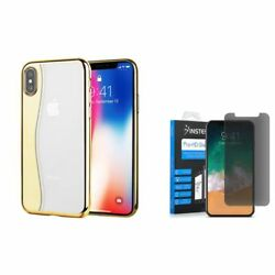 For Apple iPhone XS X Skyfall Rubber Hard Case wPrivacy Glass Screen Protector