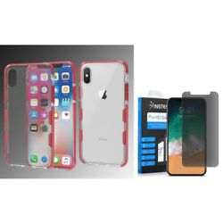 For Apple iPhone XS X Bumper TPU Rubber Case wPrivacy Glass Screen Protector