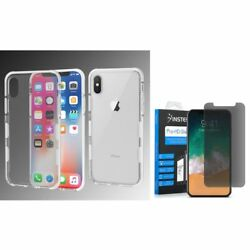 For Apple iPhone XS X Bumper Rubber Case Cover wPrivacy Glass Screen Protector