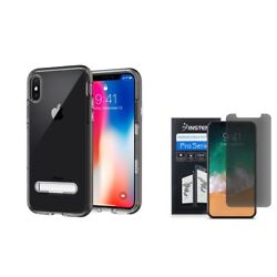 For iPhone XS X Rubber Shockproof Hard Stand Case wPrivacy Screen Protector