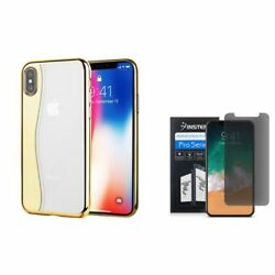 For Apple iPhone XS X Skyfall Rubber Hard Cover Case wPrivacy Screen Protector