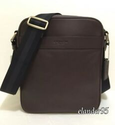 New Coach F54782 Men's Flight Charles Leather Crossbody Shoulder Bag Mahogany